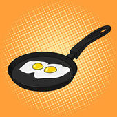 Pan with eggs pop art style vector