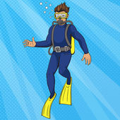 Diver uder water pop art style vector