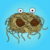Flying spaghetti monster pop art vector