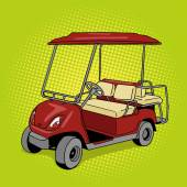 Golf cart pop art style vector illustration Hand drawn doodle  Comic book style imitation Vintage retro style Conceptual illustration