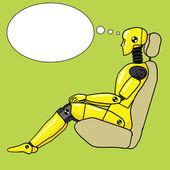Crash test dummy pop art style vector illustration Human dummy illustration Comic book style imitation Vintage retro style Conceptual illustration