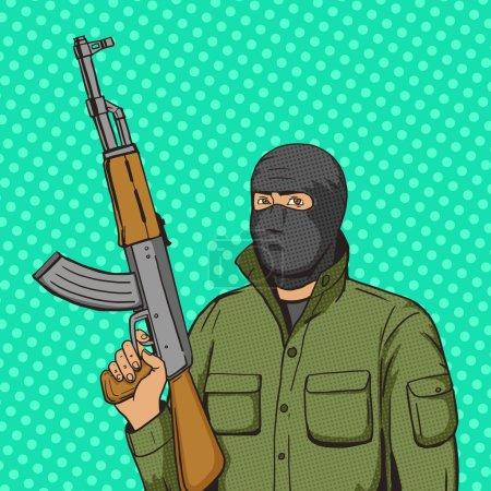 Terrorist man with machinge gun weapon pop art sty...