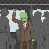 Zombie goes to work by public transport pop art style vector illustration Comic book style imitation Vintage retro style Conceptual illustration