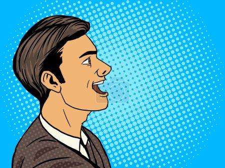 Illustration for Man speak pop art style vector illustration. Human illustration. Comic book style imitation. Vintage retro style. Conceptual illustration - Royalty Free Image