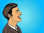 Man speak pop art style vector