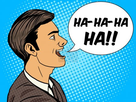 Illustration for Laughing man pop art style vector illustration. Human illustration. Comic book style imitation. Vintage retro style. Conceptual illustration - Royalty Free Image