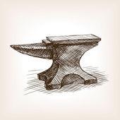Anvil sketch style vector illustration Old hand drawn engraving imitation Vintage object illustration