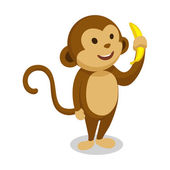Monkey cartoon minimalistic vector illustration