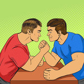 Armwrestling competition pop art style vector illustration Human illustration Comic book style imitation Vintage retro style Conceptual illustration