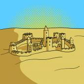 Sand castle pop art style vector illustration