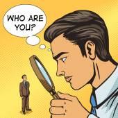Man looking through magnifying glass on man pop art vector illustration Big brother spy Human illustration Comic book style imitation Vintage retro style Conceptual illustration