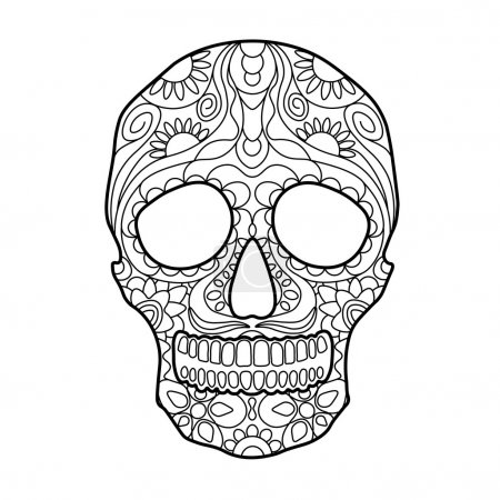 Skull coloring book for adults vector