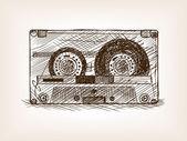 Audio cassette sketch style vector illustration