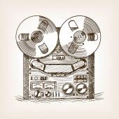 Tape recorder sketch style vector illustration