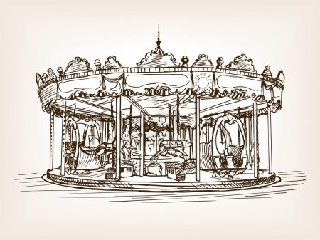 Children carousel sketch style vector illustration