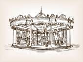 Children carousel sketch style vector illustration Old engraving imitation