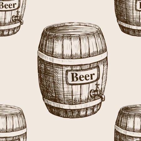 Barrel of beer sketch seamless pattern vector