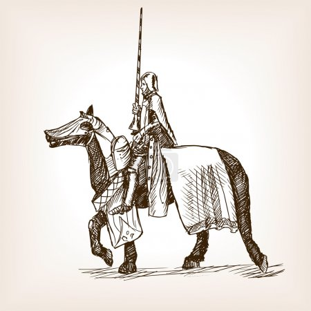 Medieval knight sketch style vector illustration