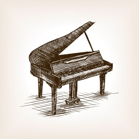 Grand piano hand drawn sketch style vector