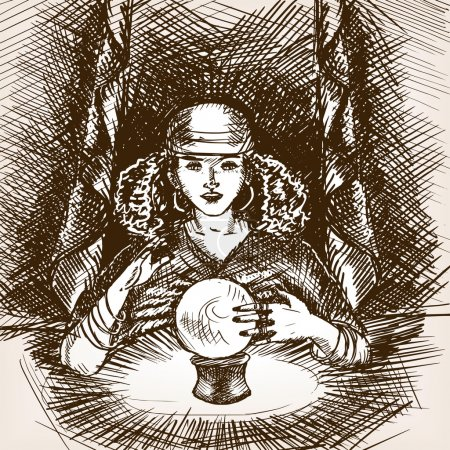 Medium woman with crystal magic ball sketch vector