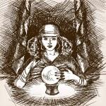 Medium woman with crystal magic ball sketch style ...