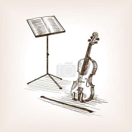 Violin bow music stand hand drawn sketch vector