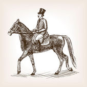 Vintage gentleman ride horse sketch style vector illustration Old engraving imitation