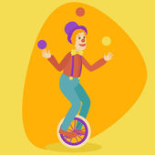 Juggler man on retro vintage old unicycle cartoon style vector illustration Juggler circus on a unicycle