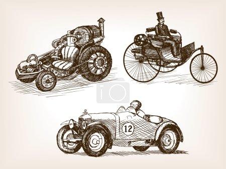 Vintage cars set sketch style vector illustration