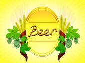 Beer label emblem with wheat and hops