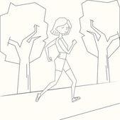 Girl run morning street black and white doodle cartoon hand drawn vector illustration