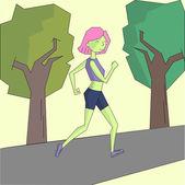 Girl run morning street vivid color doodle cartoon hand drawn vector illustration