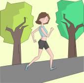 Girl run morning street color doodle cartoon hand drawn vector illustration