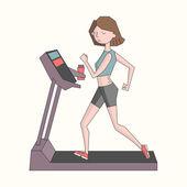 Girl run treadmill color doodle cartoon hand drawn vector illustration
