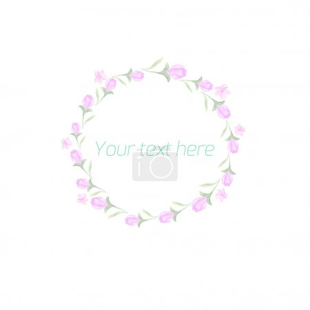 Spring floral circle ornament with text