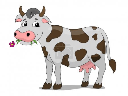 Illustration for Cartoon cow colorful hand drawn vector illustration - Royalty Free Image