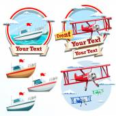Plane and boat summer time illustration