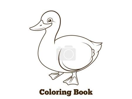 Coloring book duck cartoon educational vector illu...
