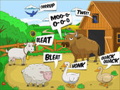 Farm animals talks sound cartoon educational illustration
