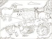 Coloring book farm cartoon educational game vector illustration