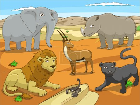 Illustration for Educational game for children African savannah animals cartoon colorful vector illustration - Royalty Free Image