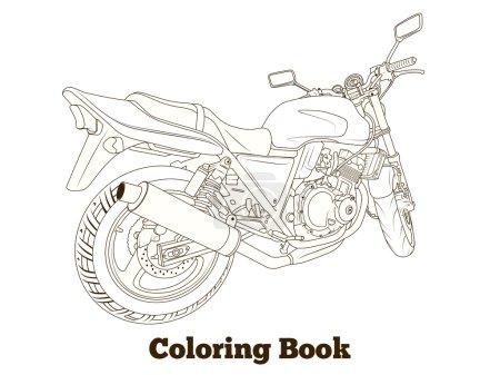 Coloring book motorbike vector illustration