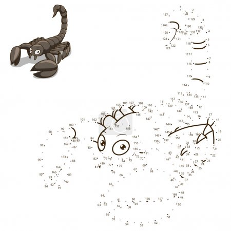 Illustration for Connect the dots to draw the animal educational game for children scorpion vector illustration - Royalty Free Image
