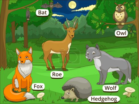 Forest with cartoon animals names