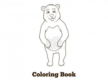 Forest animal bear cartoon coloring book vector