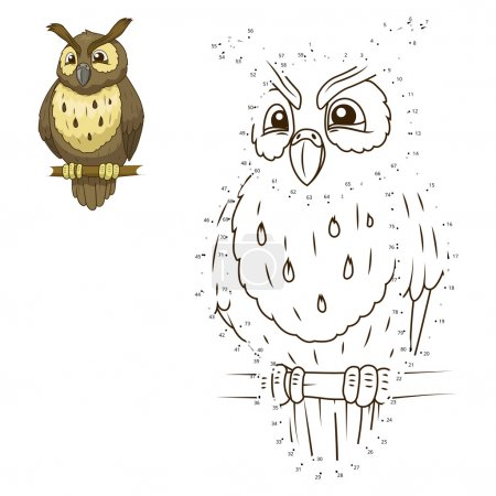 Illustration for Connect the dots to draw the animal educational game for children owl vector illustration - Royalty Free Image