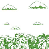 Palm and clouds background vector illustration