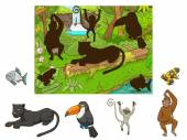 Jungle cartoon educational game find animal vector illustration