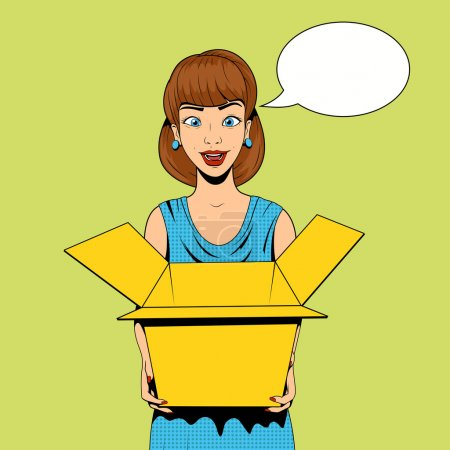Young woman get a present vector illustration