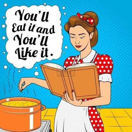 Illustration pour Beauté femme cuisine soupe vecteur illustration rétro demi-ton pop art bande dessinée style - image libre de droit